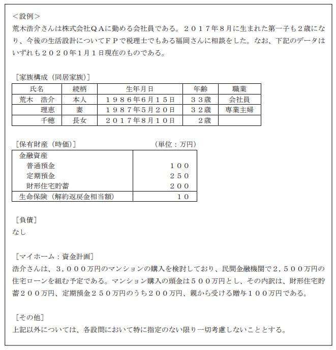 2020年1月実施日本FP協会FP3級実技試験第16問の資料
