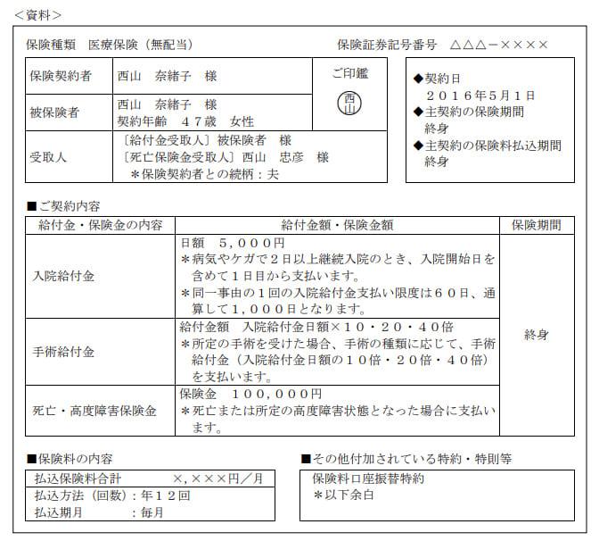 2020年1月実施日本FP協会FP3級実技試験第8問の資料