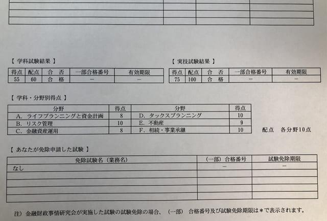 FP3級試験得点表