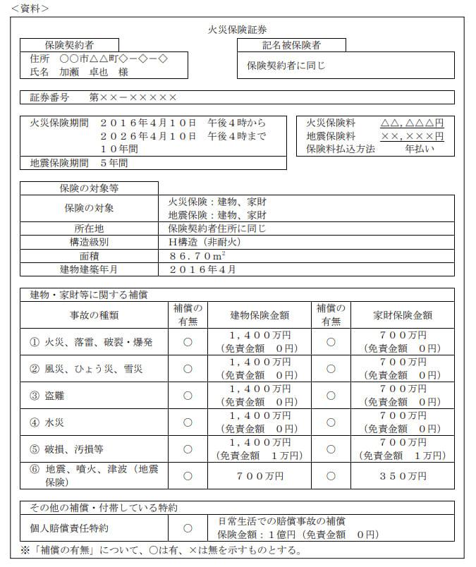 2021年1月実施日本FP協会FP2級実技試験第14問の資料