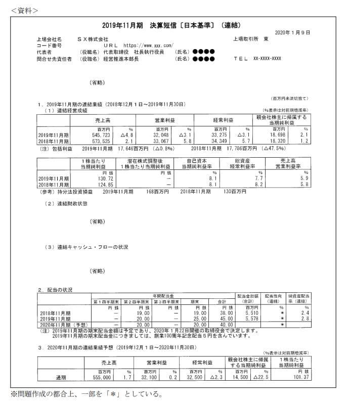 2021年1月実施日本FP協会FP2級実技試験第4問の資料