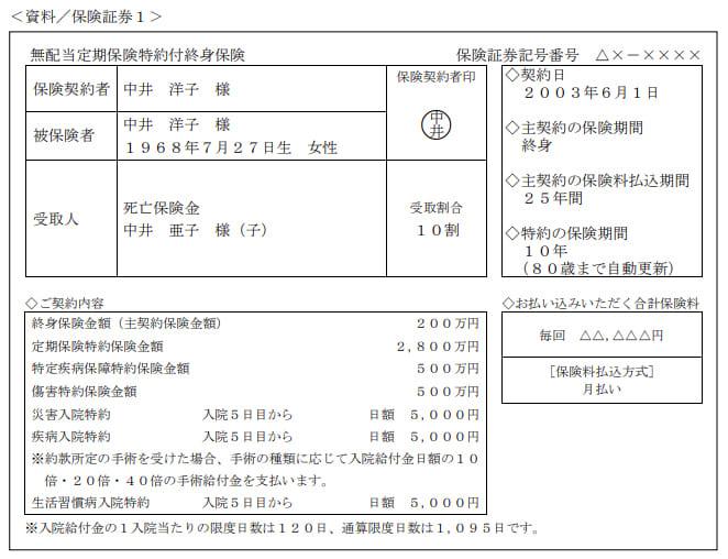 2020年9月実施日本FP協会FP2級実技試験第11問の資料①