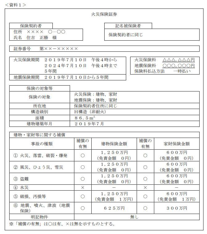 2021年5月実施日本FP協会FP2級実技試験第14問の資料①
