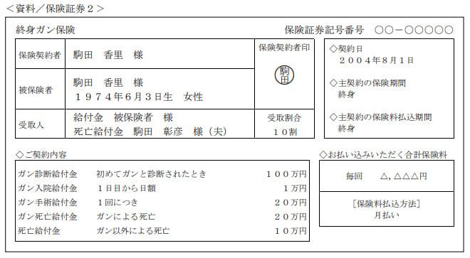 2019年9月実施日本FP協会FP2級実技試験第10問の資料②